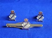 13th / 18th ROYAL HUSSARS ( QUEEN MARY'S OWN ) CUFF LINK AND TIE GRIP / CLIP SET